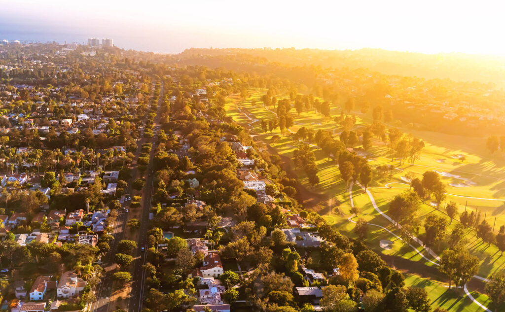 Aerial view of Pacific Palisades at golden hour